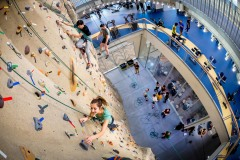 February 22, 2018; Claire DiOrio climbs the climbing wall in Duncan Student Center. (Photo by Matt Cashore/University of Notre Dame)